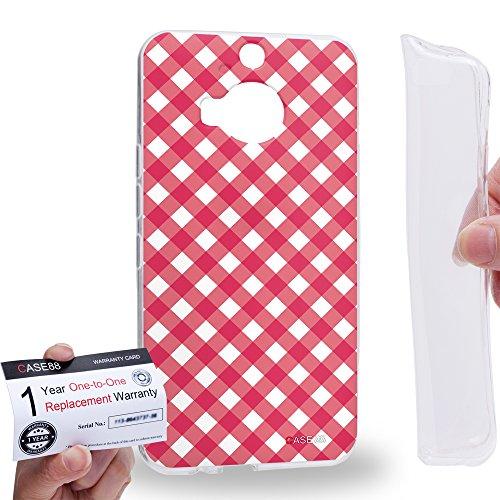 Case88 [HTC ONE M9+ (PLUS)] Gel TPU Hülle / Schutzhülle & Garantiekarte - Art Coloured Doodle Patterns Pink Checker Art1406 Checker Tpu Gel