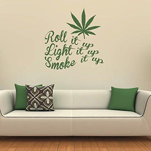 azutura Aufrollen Wandaufkleber Rauch es auf Wandtattoo Cannabis-Unkraut Wohnkultur verfügbar in 5 Größen und 25 Farben X-Groß Blatt Grün (Rauch Blättern)