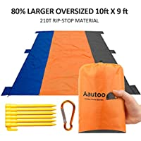 Aautoo Extra Large Picnic Blanket Sand Proof Waterproof Oversized Beach Mat, 9Ft * 10Ft 6 Pockets Up to 8 Person
