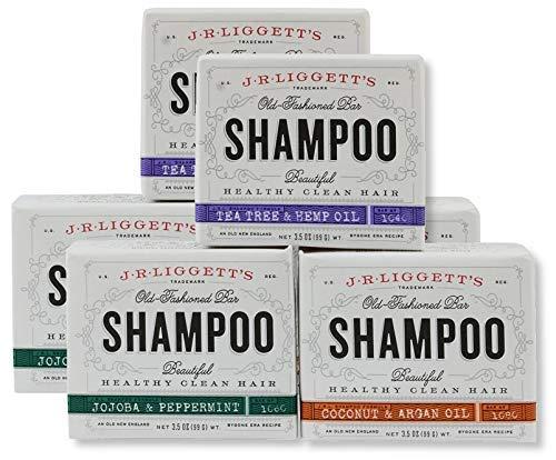 J.R Liggett Old Fashioned Bar Shampoo Variety 3 Pack - Tea Tree & Hemp Oil - Jojoba & Peppermint -Coconut & Aragan Oil - 2 Of Each Flavor