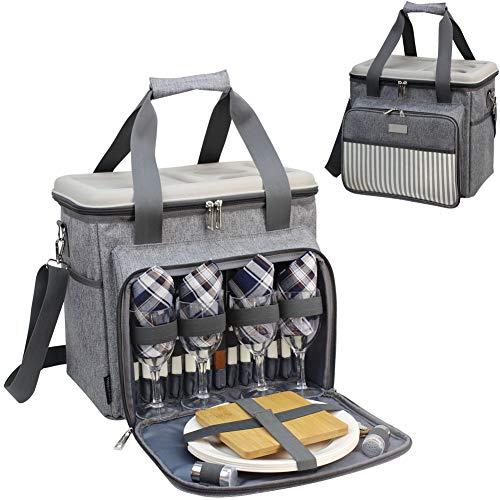 HappyPicnic gefüllter Picknick-Kühler/Korb für 4 Personen mit komplettem Geschirr-Set, geräumiges Kühlfach, Premium Picknick-Set mit hartem Eva-Form-Deckel als Picknicktisch