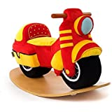 Labebe Wooden Rocking Horse 12-36 months Baby Boys & Girls, Cute Stuffed Red Motorcycle Seat, Soft & Comfortable, Quality Guaranteed with CE Certified, Creative Birthday Gift