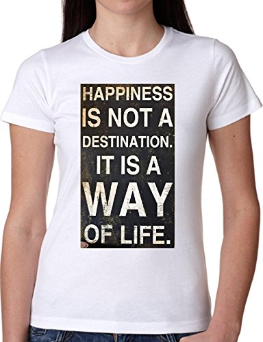 T SHIRT JODE GIRL GGG22 Z1051 HAPPYNESS NOT DESTINATION WAY OF LIFE FASHION COOL BIANCA - WHITE