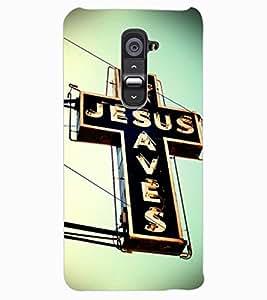 ColourCraft Jesus Cross Design Back Case Cover for LG G2