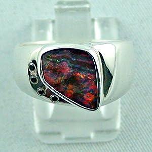Sterling Silberring mit großem GEM Boulder Opal 2,83 ct und 4 Diamanten