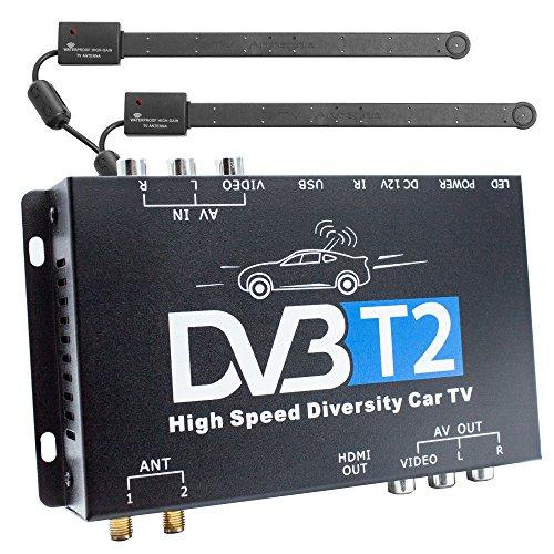 r für Auto Kfz, H.265 HEVC, TV Box mit 12V Betrieb, Dual Tuner mit 2 aktiven Antennen je 20 dB, bis 160 km/h, HDMI USB-Anschlusse, Full HDTV, PVR Aufnahmefunktion ()