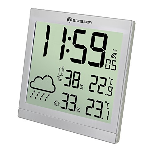 Bresser Wetterstation Wanduhr TemeoTrend JC mit DCF Funkuhr mit großer Anzeige für Temperatur und Luftfeuchtigkeit für Tisch oder Wandmontage inklusive Wettertrendanzeige und Außensensor, silber
