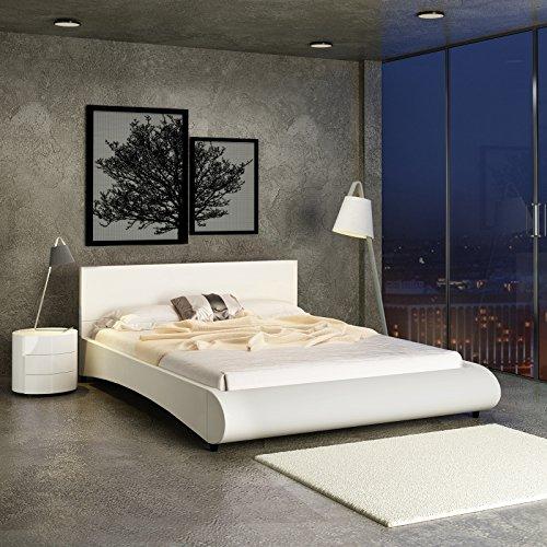 Miadomodo letto matrimoniale moderno in similpelle con rete integrata ca. 180 x 200 colore crema