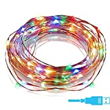 #8: Quace Copper String Led Light 10M 100 LED USB Operated Wire Decorative Fairy Lights Diwali Christmas Festival - Multi Color