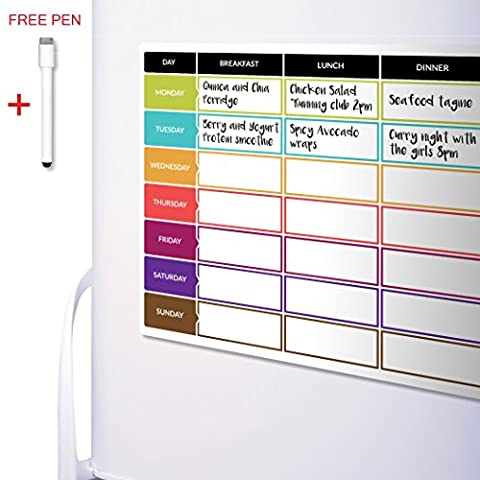 CKB Ltd® Meal Diet Planner | Food Prep Nutrition Fitness Magnetic Fridge Board With Marker Pen A3 Dry Wipe Magnet Whiteboard Kitchen Weekly / Daily Ideal for Planning Family Meals, Bodybuilding and
