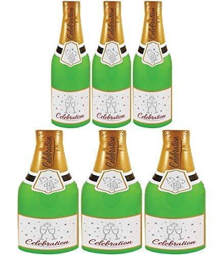 Henbrandt International (6 Stück Packung 73cm Aufblasbar Champagner Flaschen Party Dekoration Foto Requisite