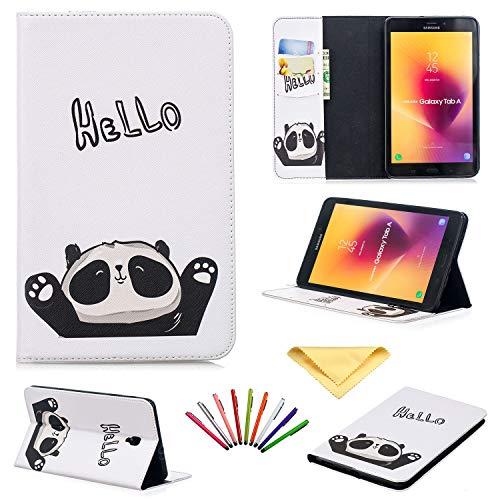 Galaxy Tab A 20,3 Zoll Tablet Hülle 2017, Uliking Folio Stand PU Leder TPU stoßfest Wallet Cover mit Kartenfächern + Stift für Samsung Galaxy Tab A 8.0 2017 (SM-T380/T385) weiß 02 Cute Panda