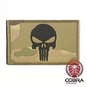 Punisher Multicam Camo Brodé Patch | Emblème du crâne moral de l'armée tactique Airsoft Paintball pour Sac à Dos Tactique, Vêtements avec sa lanière Hook & Loop