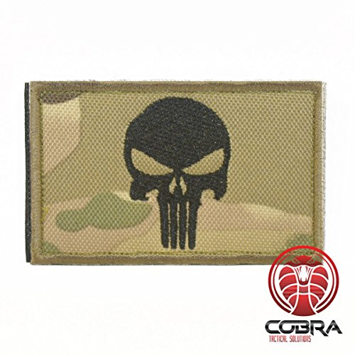 Cobra Tactical Solutions Military Airsoft Morale Patch Parche Punisher Skull Badge Hook Fastener Bordado Gancho (Camouflage)