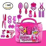Ensemble de coiffure, rose Simulation coiffure cosmétiques beauté valise Toy Set -17PCS jeu de rôle pour les petites filles...