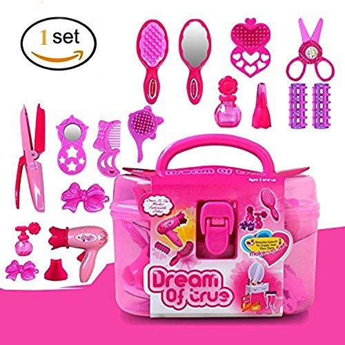 EQLEF Set Parrucchieri, Rosa Simulazione Parrucchieri Cosmetici Bellezza Valigia Giocattolo Set -17pcs Giochi di Ruolo per Bambine