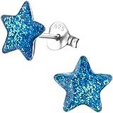 JAYARE Mädchen-Ohrringe Sterne 925 Sterling Silber 9 mm blau Glitzer Kinder-Ohrstecker Stern im Geschenk-Etui