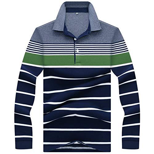 Langarm-polo-shirt (NISHIPANGZI Neue Männer Polos 3D Stickerei gestreiftes Poloshirt Männer lässig Polo Shirt Herren Langarm Poloshirt, L)