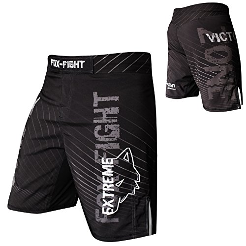 FOX-FIGHT Extreme MMA Fight Hosen Short Muay Thai Kickboxen UFC Kampfsport Boxen Training L schwarz