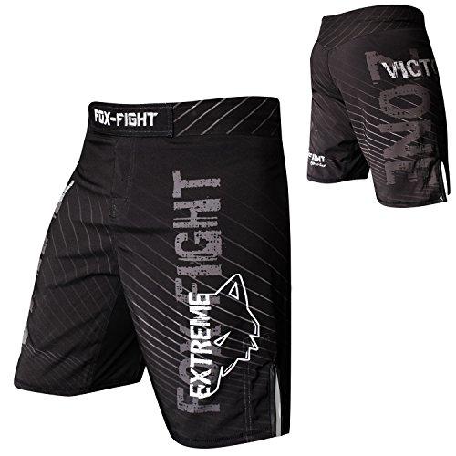 FOX-FIGHT Extreme MMA Fight Hosen Short Muay Thai Kickboxen UFC Kampfsport Boxen Training M Schwarz