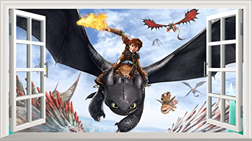 How To Train Your Dragon V002selbstklebend Magic Wandtattoo Fenster Poster Wall Art Größe 1000mm breit x 600mm tief (groß) (Großes Dragon Poster)