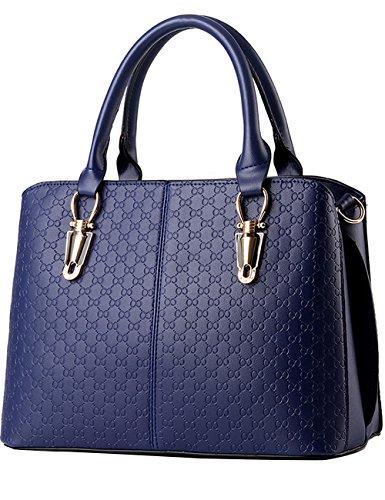 Menschwear Leather Tote Bag lucida PU nuove signore borsa a tracolla Blu Buio Blu