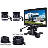 podofo Backup Camera Vehicle Parking System for Motorhome/RV/Bus/Trailer/Truck 2 x Car Reverse Cameras Waterproof 18 IR LED Night Vision + 7' TFT Rear View Monitor (32ft/65ft Video Cable together)