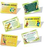 Danksagungskarten zum Schulanfang (75x50mm), 20 Stück, inkl. Goldkordeln