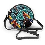 Lilyo-ltd Schultertasche mit tropischen Blättern, Ara-Muster, rund, für Damen und Mädchen