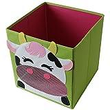 4 Stück TE-Trend Textil Faltbox Spielbox Tiermotive Frosch Affe Eule Kuh Aufbewahrung Truhe für Spielzeug faltbar 28 x 28 x 28 cm - 3