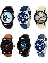 NIKOLA Modern 3D Design Mahadev Smokey Black Blue And Brown Color 6 Watch Combo (B22-B56-B20-B31-B23-B57) For...
