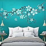 Wandaro W3401 Wandtattoo Wandsticker 2-Farbige Blumenranke mit Schmetterling Wohnzimmer Schlafzimmer Lavendel (BxH) 151 x 58 cm