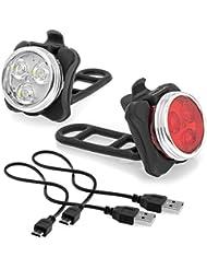 Wiederaufladbare LED Fahrradlampe,LED Frontlicht + LED Rücklicht Für Radfahren,2 USB-Kabel,4 Licht-Modi,Wasserdicht IPX4