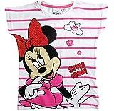 Minnie Mouse T-Shirt Kollektion 2018 Shirt 98 104 110 116 122 128 134 Mädchen Glitzer Glitter Kurzarmshirt Maus (Weiß-Fuchsia, 122)