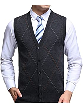 Zhhlinyuan alta calidad Mens Men's Father Business Spring Rhombus Pattern Sleeveless V-neck Wool Pullover Knitted...