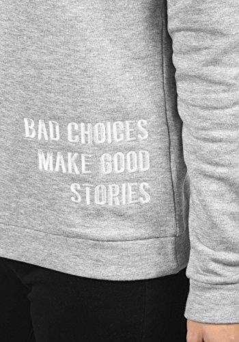JACQUELINE de YONG by ONLY Luisa Damen Sweatshirt Pullover Sweater mit Rundhals-Ausschnitt und Stickerei aus hochwertiger Baumwollmischung Light Grey Melange