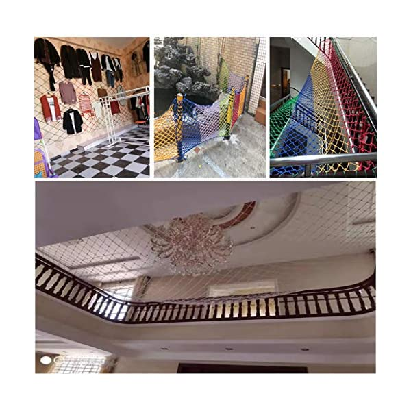 HUANPIN Child Safety Net Family Balcony Railing Stairs Anti-Falling Baby Fence Net Children Playground Guardrail Kids Safety Netting Dia 10mm8cm,4×5m HUANPIN ★Handmade: High quality safety net , Hand braided Traditional structure ★Mesh Size*Rope Diameter: 8cm*10mm Length*width: please perchase as your needs. We have any other size ( rope diameter, mesh, length * width) rope net, support customization. If you have any needs, please contact us. ★ Multi-function protection net: balcony family and railing stairs balcony security loft bed protection stair railing cat climbing ladder, anti-fall and other strengthening protection; wall, house, hotel theme party, board, cafe, bookstore, restaurant, decoration, hanging and so on. 6