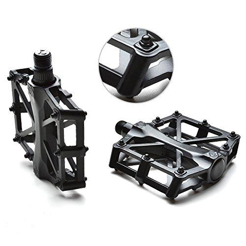 AGPtek Bike pedales de la bicicleta 9/16 'MTB BMX Teniendo aleación de plataforma Pedales para bicicletas de montaña ciclismo de carretera (Negro)
