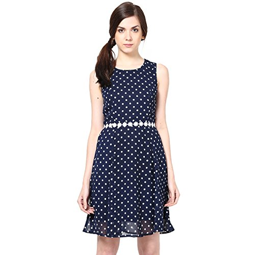 Harpa Women's Skater Dress (GR2238-Navy_Small)  available at amazon for Rs.520