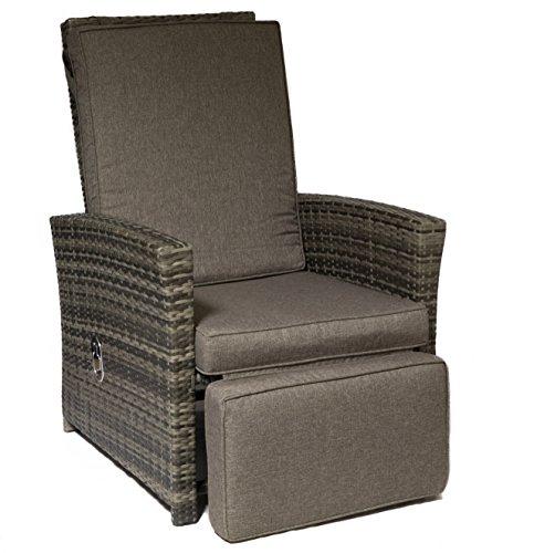 Relaxsessel Loungesessel Rattansessel Polyrattan Garten-Sessel mit Fußteil inklusive Auflage
