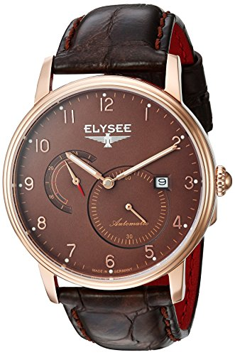 ELYSEE MEN'S PRIAMOS 41MM BROWN LEATHER BAND AUTOMATIC ANALOG WATCH 77017B