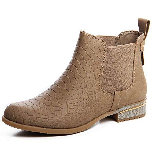 topschuhe24 583 Damen Boots Stiefeletten Khaki