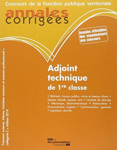 Adjoint technique de 1e classe - 2014