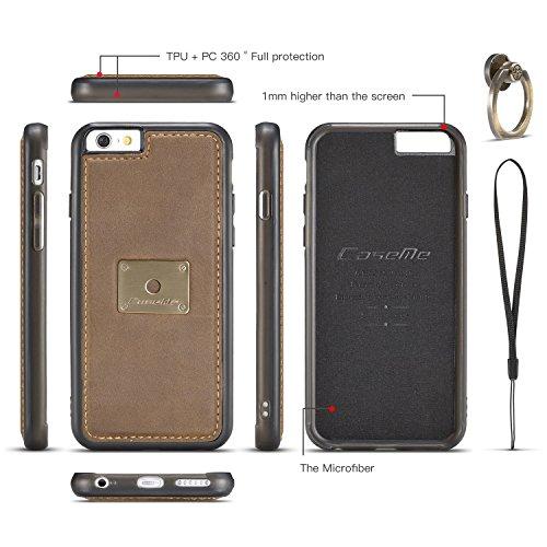 EKINHUI CaseMe Fall mit 360 drehender Finger-Ring-Standplatz-Entwurf und magnetische rückseitige Abdeckung für Apple iPhone 6s ( Color : Brown ) Brown