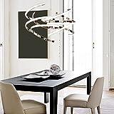 55W Chrom Anhänger Leuchte LED Moderne Hängelampe Round Rotierenden Design Kronleuchter für Wohnzimmer Esszimmer Esstisch Büro Acryl Aluminium Lampe Deckenleuchte (Weißes Licht)