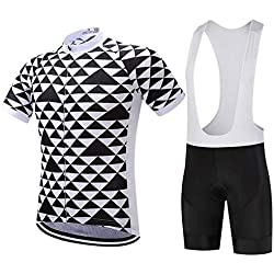 Moxilyn Cycling Clothing for Men Suit Bicycle Set Summer Top + Bib Shorts Padded, Gel Seat Pad 9D for Bicycle Riding Set Comfortable and Quick Dry