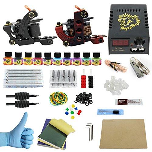 LregonXawk Komplett Tattoo Set 2 Tattoo Maschinengewehre 10 Farbtinten 50 Tattoo Nadeln Permanent Tattoo Machine Supply - Tätowierungs-tinte Billige