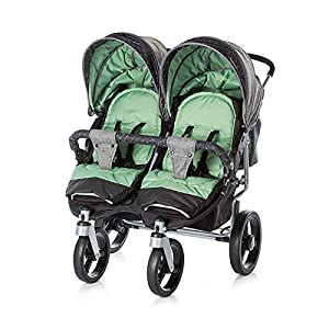 Chipolino Twin Stroller Twix, Green Ydq TRAVEL ANYWHERE - Airplane travel stroller designed for airplane overhead compartment. It's super compact when folded. With extendable pull rod, it could be dragged anywhere you go with no effort instead of lifting it with your hand. COMFORTABLE SEAT - Lightweight pushchair with reclining backrest enables your baby to rest better in the well-padded seat. The pads on the headrest will help keep your baby's head in position even if it's asleep. The angle of legs support could also be adjusted, providing the most joyful ride for your baby. EASY USAGE - One-hand foldable buggy makes taking your baby for travels or walks a simple pleasure. It could stand on its own so you could take care of your baby with less things to worry about. 8