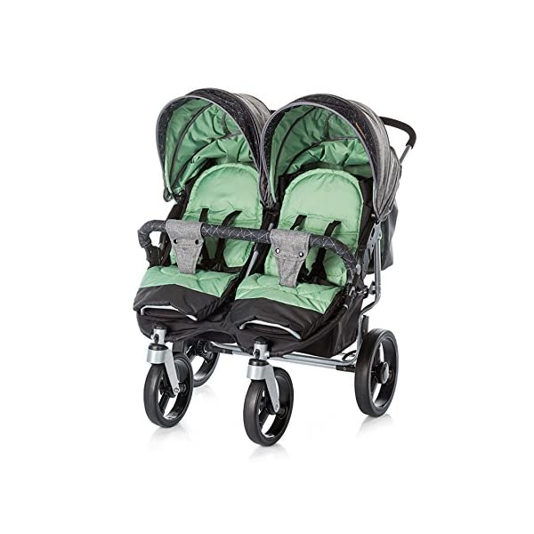 Chipolino Twin Stroller Twix, Green Chipolino Three big section canopies with viewing panels and pockets 5-point adjustable harness with shoulder pads and adjustable leg rests 5 position reclining seats 1