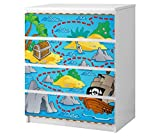 Set Möbelaufkleber für Ikea Kommode MALM 4 Fächer/Schubladen Kinderzimmer Cartoon Karte Schatzkarte Pirat Schiff Kat2 Piratenschiff Meer ML4 Aufkleber Möbelfolie sticker (Ohne Möbel) Folie 25B2608